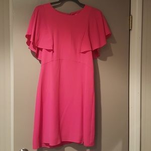 Hot pink dress with flutter sleeves